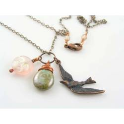 Pink Moon and Bird Charm Necklace