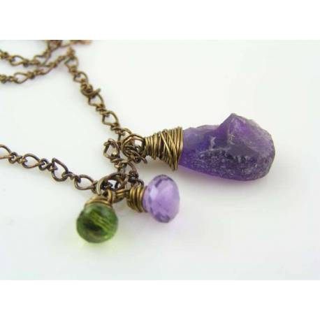 Hammered Amethyst and Peridot Necklace