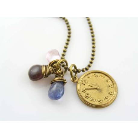 Whimsical Clock Charm Necklace with Hyperstene, Tanzanite and Pink Topaz