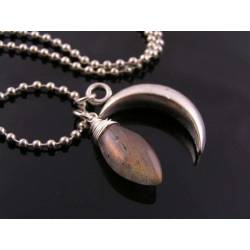 Labradorite and Silver Crescent Moon Necklace,