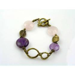 Infinity Bracelet with Amethyst and Rose Quartz