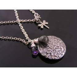 Abstract Pendant with Cat's Eye Chrysoberyl and Amethyst Necklace