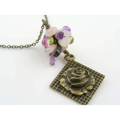 Rambling Rose Gemstone Necklace