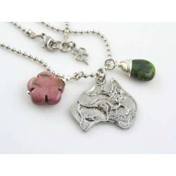 Australia Map Necklace with Mookaite Flower and Chrysoprase