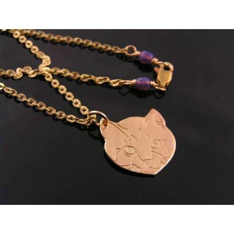 Solid Bronze Cat Necklace