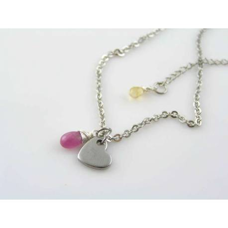 Initial Necklace with Heart Charm and Ruby Drop