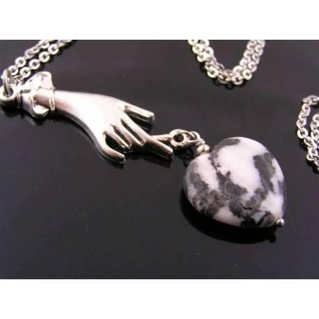 Art Deco Style Hand holding Carved Zebra Jasper Heart Pendant - Necklace