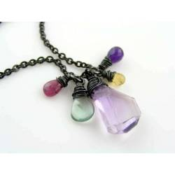 Ametrine Necklace with Ruby, Fluorite, Citrine and Amethyst