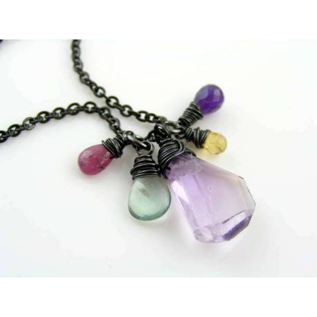 Awareness Charm, Ruby, Ametrine, Fluorite, Citrine and Amethyst Necklace
