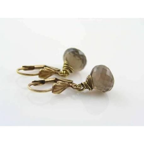 Smokey Quartz Earrings in Brass