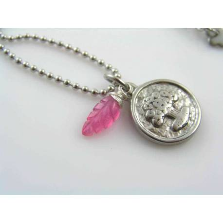 Tree of Life Necklace with Carved Pink Sapphire
