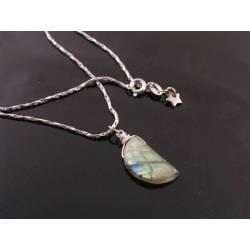 Amazing Crescent Moon Labradorite Necklace