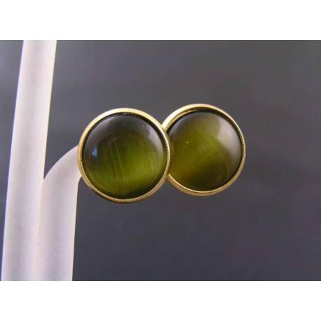 Green Cat's Eye Stud Earrings