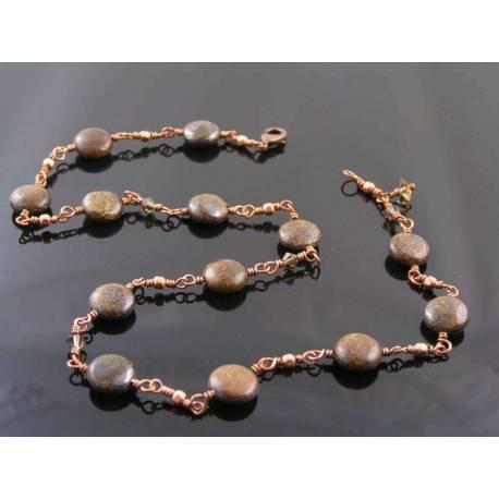 Bronzite and Swarovski Crystal Necklace, Wire Wrapped