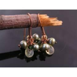 Green Pearl and Prehnite Cluster Earrings