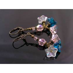 Czech Flower Bead Earrings in Pink and Teal