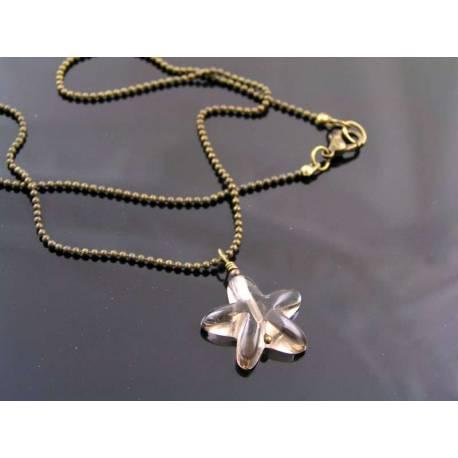 Smokey Quartz Star Pendant Necklace