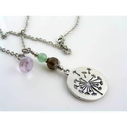 Dandelion Necklace with Gemstones