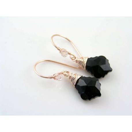 Baroque Black Crystal Rose Gold Earrings