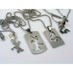 Matching Couple Necklace with Dragon or Lizard Dog Tag and Gemstones