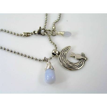 Cat in Moon Necklace with Natural Blue Chalcedony