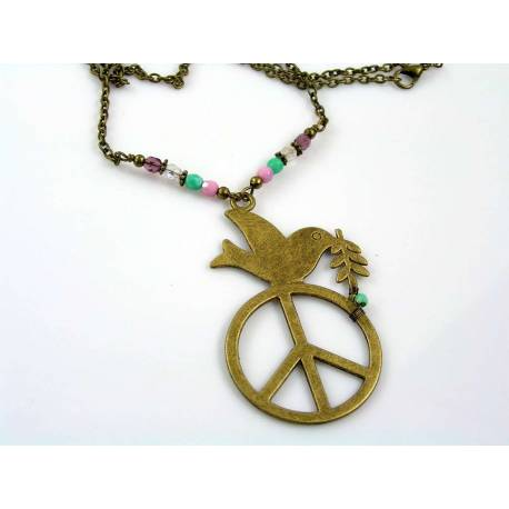 Peace Dove Czech Bead Body Necklace