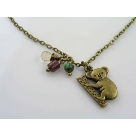 Australian Necklace with Koala Charm, Mookaite and Chrysoprase