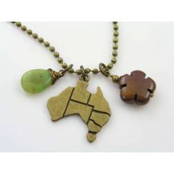 Australian Map Pendant with Australian Gemstone Necklace