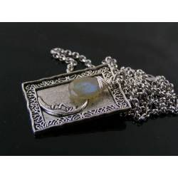 Labradorite and Moon Charm Necklace