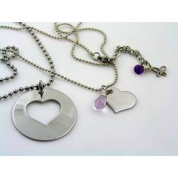 Matching Couple Necklaces with Heart Pendants and Gemstones