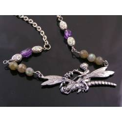 Angel riding Dragonfly Necklace with Labradorite and Amethyst