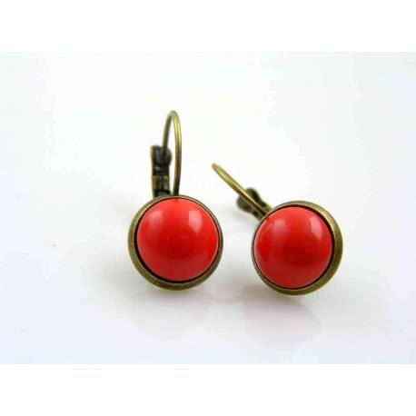 Czech Coral Button Earrings
