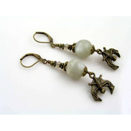 Grey Moonstone Earrings with Bat Charms