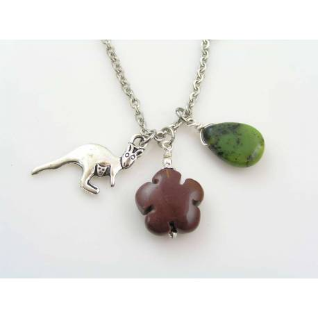 Australian Charm Necklace with Kangaroo, Mookaite and Chrysoprase