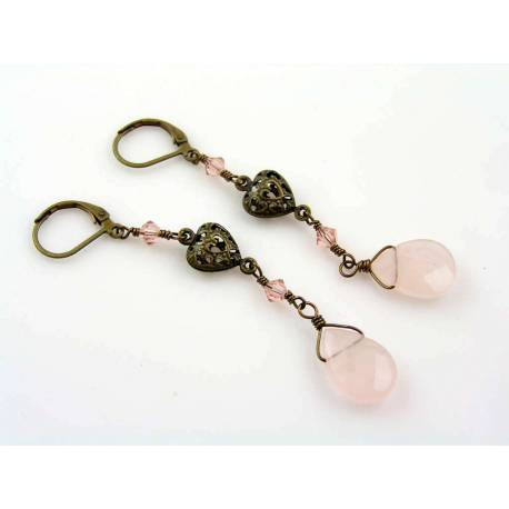 Rose Quartz Earrings with Swarovski Crystals and Filigree Hearts