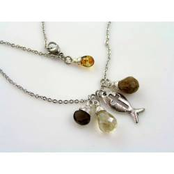 Smokey Quartz, Coffee Quartz and Crystal Ichthus Necklace
