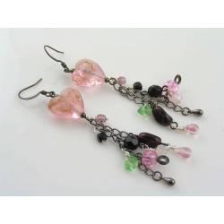 Lampwork Tassel Earrings, Dramatic Heart Earrings