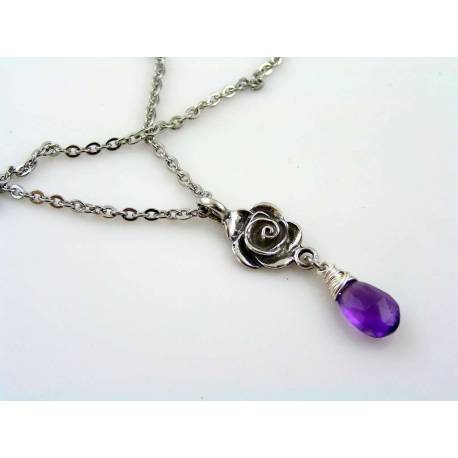 Purple Amethyst Rose Necklace