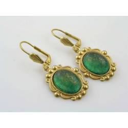 Vintage Style Green and Gold Earrings