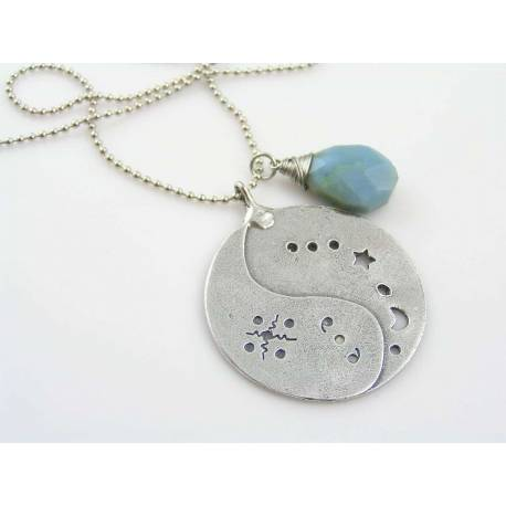 Ying Yang Necklace with Blue Owyhee Opal