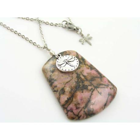 Rhodonite and Dragonfly Necklace