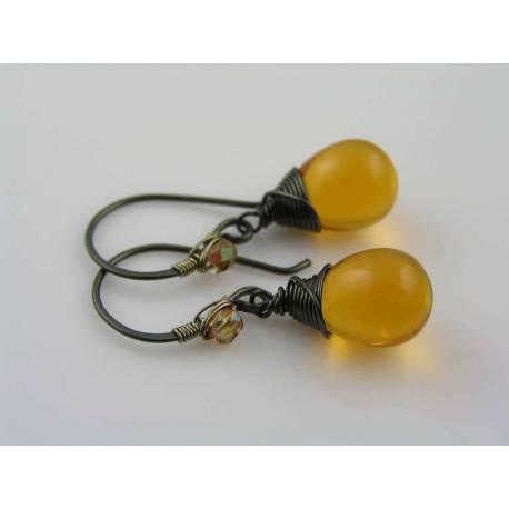 Wire Wrapped Dark Topaz Czech Glass Teardrop Earrings