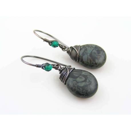 Camouflage Earrings, Czech Glass Drop Earrings