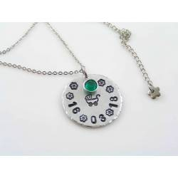 Necklace for New Mum with Birthstone and Personalised Pendant