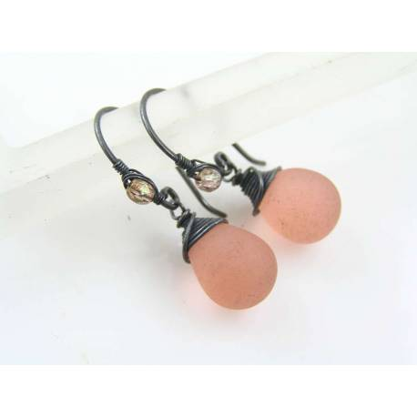 Wire Wrapped Peach Sea Glass Earrings