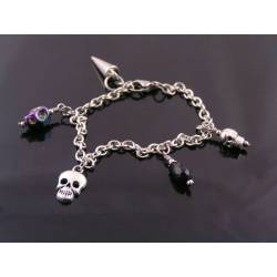 Charm Bracelet with Skull Charms
