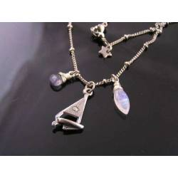 Sail Boat Charm Necklace, Moonstone and Iolite