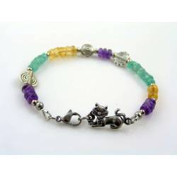 Cat Bracelet with Amethyst, Citrine and Apatite