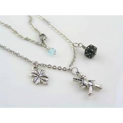 Good Luck Necklace with Birthstone, Chimney Sweeper and Dice Charm