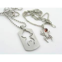 Matching Couple Necklace, Spider with Dog Tag and Garnet